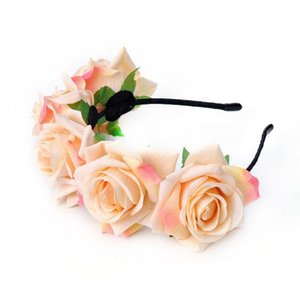 7cm cor-de-rosa da noiva da noiva da flor da cocar de cabelo da grinalda das mulheres da faixa do cabelo da faixa do cabelo da faixa do estúdio da faixa do estúdio do estúdio do estúdio da faixa do estúdio