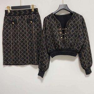 1112 Бесплатная доставка 2020 осенний бренд такой же стиль два штуки наборы регулярные с длинным рукавом шеи красный кардиган кинт свин для женщин одежда Цянь