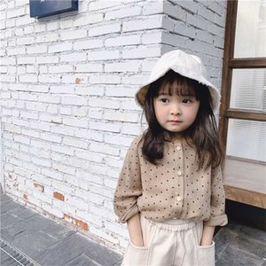 Korean style cute dot sigle-breasted shirts for fashion girls cotton 2 colors casual shirt clothes Y200704