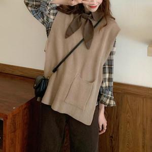 Kawaii Sweater Vest Women Oversize Vintage Knitted Vest Designer Loose Sweater Harajuku Korean Top Women's Clothing Autumn 2020