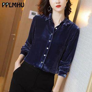 Women's Blouses & Shirts Office Lady Blue Velvet Blouse Button Down Shirt For Women Black Casual Fashion Spring Long Sleeve Plus Size Tops