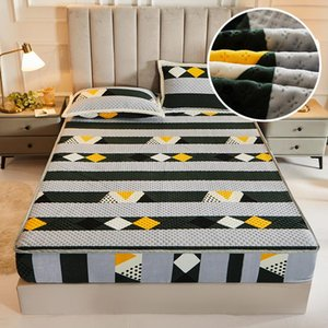 Sheets & Sets Warm Soft Crystal Velvet Bed Fitted Sheet Not Including Case King Queen Size Cartoon Plush Thicken Quilted Mattress Cover