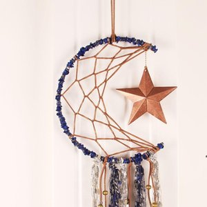 Dreamcatcher Bells Hang Moon Catcher Dreamcatcher Fashion Tassel Feather Dream Catcher Wall Hanging Room Decoration Pendant OWF5239