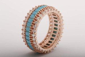 Ручная бирюзовая бирюзовая багета кольцо синий драгоценный камень ювелирные изделия белый Zircon розовое золото 925 стерлинговые серебряные украшения все размеры