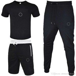 Männer Trainingsanzug 2020 T-SHIRT + Kurzer Hosen + lange Hose 3 Stück Sets Solid Color Outfit Anzüge Hohe Qualität Trainingsanzüge