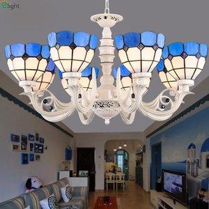 Chandeliers European Zinc Alloy Led Lighting Mediterranean Glass Living Room Pendant Chandelier Lights Bedroom Hanging Lamp