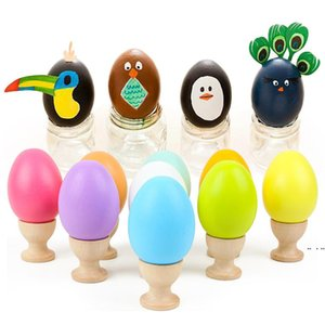 Natural Wood Simulation Eggs Manual Graffiti Painted Exercise DIY Creative Easter Egg Children Early Educational Toy DHF5160
