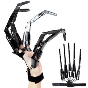 Halloween Articulated Fingers Festival Party Supplies Metal Cosplay Accessories Extension Gloves Claws Extender Wearable Scary Skeleton Bone Claw Hand A02