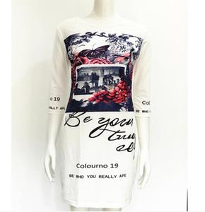 Robe de style européen Femme Blanc Casual Papillon Floral Imprimer Robes de la robe de l'épaule Dernier style