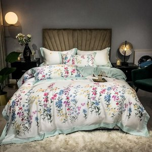 French Country Garden Rose Floral Printed on White Duvet Quilt Cover 600TC Tencel Soft Bedding Set with Flat Sheet 2pillow shams