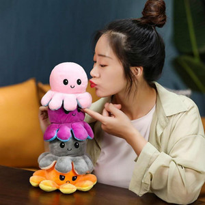 DHL Shipping Reversible Flip Octopus Stress Release Plush Dolls Plush Stuffed Toys Soft Animal Party Favor Cute Animal Doll Children Gifts