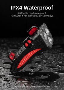 ROCKBROS USB Rechargeable Bike Light 4 In 1 Multifunctional 130dB Phone Holder Power Bank Waterproof Headlight Bike Accessories
