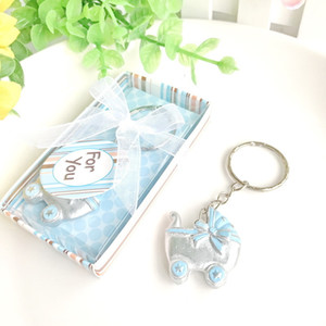 New Shower Favors Pink  Blue Baby Carriage Design Key Chains Birth Christening Gift Keychain Favor W8480V87H