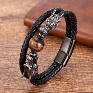 Luxury Stainless Steel Bracelets For Men Round Tiger Eye Natural Stone Dragon Shape Metal Leather Bangles Gifts For The New Year
