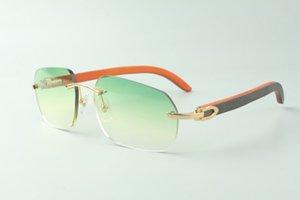 Direct sales designer sunglasses 3524024, orange wooden temples glasses, size: 18-135 mm