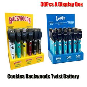 Cookies Backwoods Twist Preheat VV Battery 900mAh Bottom Voltage Adjustable Usb Charger Vape Pen For 510 Cartridges 30Pcs A Display Box DHL