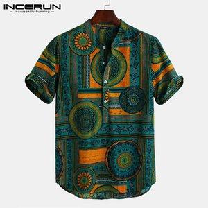Camisa camisa estilo étnico impresión manga corta collar cuello camisa masculina casual tops streetwear hombres hawaiano camisas 2021 incerun