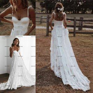 Bohemian Lace Floral Wedding Dresses 2022 Sweetheart Straps Backless Outdoor Garden Beach Country Bridal Dress Vestidos De Noiva