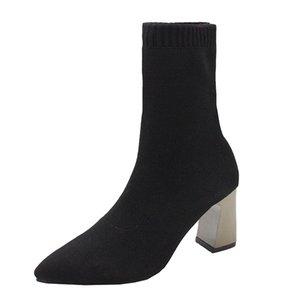 ICCLEK Bayan Ayakkabıları 2021 Kış Moda Siyah Çizmeler Kumaş - Liner Sıcak Satış Rahat