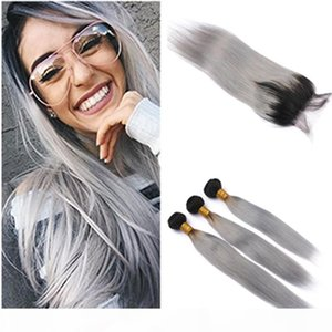 #1B Grey Ombre Virgin Hair Weft Silky Straight Weave Bundles with Closure Silver Gray Ombre Brazilian Human Hair Weft with 4x4 Lace Closure