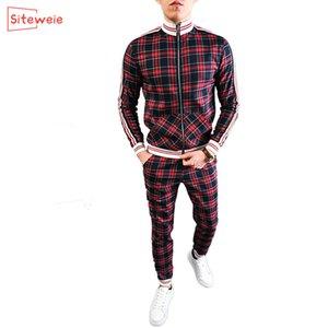 SiteWeie New Brand Men Sport Set Fitness Trajes de fitness Hombres de otoño Conjunto de manga larga Chaqueta de rayas + Pantalones Gimnasios Casual Sportswear Traje G429 Q0125