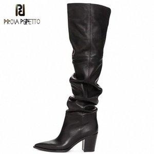 Prova Perfetto Black Over the Knee Boots Pointed Toe Chunky Tacchi Scarpe Zipper Morbido Ginocchio Stivali Alti Donne Botines Mujer 2019 R65T #