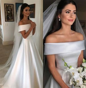 2021 Cheap White Satin Wedding Dresses Elegant A Line Off The Shoulder Franch Bridal Gowns Sweep Train robe de mariee vestido WJH357