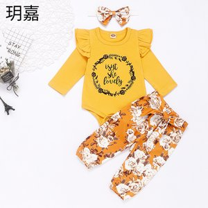 Baby Girl Clothes Printed Letter Romper Floral Trousers Headband 3pcs Sets Ruffle Long Sleeves Princess Outfits Baby Clothing 3321 Q2