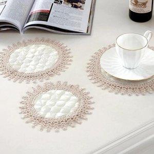 Бежевый полиэстер круглый вышивка для вышивания таблицы Место для ковричной прокладки ткань блюдо Placemat Cup кружка ужин стеклянная сальная кухня