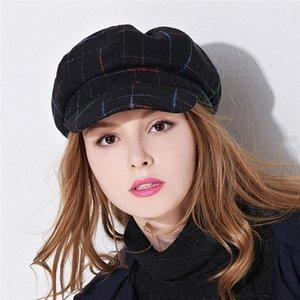 Xthree Casa de mujer con sombrero de invierno casco octagonal con visera sombrero de primavera niña