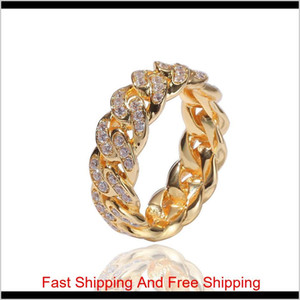 Men'S Ring Hip Hop Punk Ring Cuban Link Chain 8Mm Zircon-Plated Real Gold Trend Men'S Ring New Ly098 W4Xb2 8C4Ca