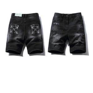 HAUTE QUALITÉ 20SS OFF Style Blanc Sketch 3D Broderie Irregular Artstyle Splash Encre Portez des shorts en jean