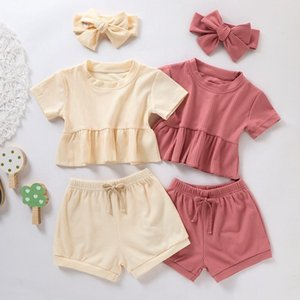 Baby Clothing Sets Short Sleeve Tops +Shorts + Headbands 3Pcs Sets Fashion Boutique Kids Pit Knitted Outfits