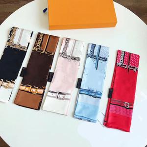 Novo lenço de seda lenço de seda moda feminina desgaste de desgaste saco lidar com a marca de fita impresso lenço feminino lenço fashion faixa de pulso