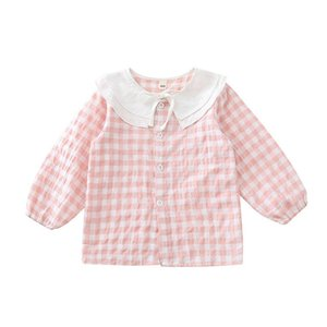 Shirts Baby Girls Shirt Little Toddler Spring Cotton Blouse Lnfant Pink Grid Bowtie Soft Casual Cute Comfortable Bowknot Round Collar