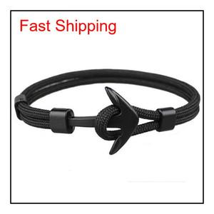 Viking Jewelry Mens Black Alloy Pirate Nautical Navy Anchor Bracelets Rope Woven Bracelet For Women Men Frie jllSop otsweet