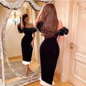 Black Evening Dress Polka-Dot Off Shoulder Ruched Sexy Backless Ankle-Length Dubai Formal Prom Party Gown Custom Made