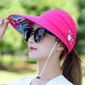 Sıcak Yaz Güneş Şapka Inci Ayarlanabilir Büyük Kafaları ile Geniş Kararmış Plaj Şapka UV Koruma Paketlenebilir Güneşlik Ile 1 ADET LTNShry