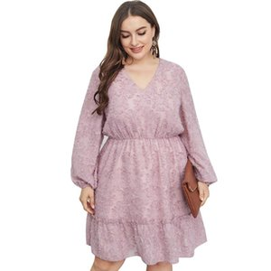 4XL Plus Size Autumn Casual Women Dress Long Sleeve Solid Sweet A-Line Dresses Female Elegant Slim Vestidos Oversize Clothing