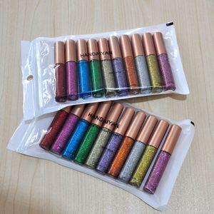 Handaiyan 10 renkler / paket mat renk eyeliner kiti makyaj su geçirmez renkli göz kalemi kalem gözler makyaj kozmetik gözleri seti