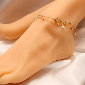 Silver Gold Infinity Anklet Chain Infinity Multilayer Anklet Bracelet Foot Chain Fashion Beach Jewelry