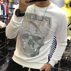 2021 Autumn New Mens Pullover Cotton Knitted Jumper Skull Printed Sweater Street Hip Hop Streetwear Handsome Fashion Designer Hoodies O Neck