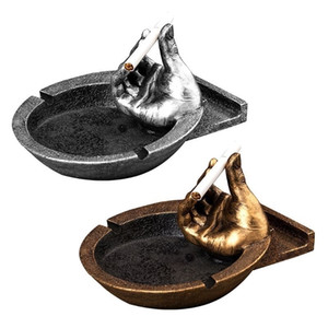 Creative Smoking Pipe Ashtray with Hand Personality Resin Ash Tray Cigarette Holder Phone Bracket Home Decor T200111