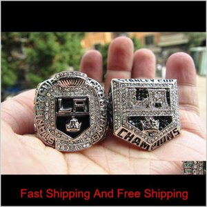 2Pcs 2012 2014 Los Angeles Kings Stanley Cup Championship Ring Men Fan Souvenir Gift Wholesale 2019 Drop Shipping Kcu87 9Gfeb