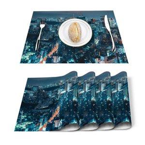 Table Runner 4 6pcs Blue Night View City Building Kitchen Placemat Set Dining Mats Cotton Linen Pad Bowl Cup Mat Home Decor