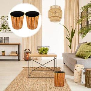 Waste Bins 2Pcs Durable Trash Container Living Room Rubbish Holder Decorative Jar