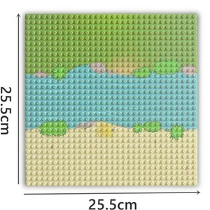 Bricks Classic Base Plate City Street River Sandy Beach Island Baseplate Seaside Building Blocks for Kids Compatible with lego 0215