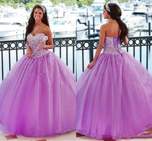 2021 Lilac Quinceanera Dresses Beaded Sweetheart Neckline Floor Length Tulle Corset Back Custom Princess Sweet 16 Prom Ball Gown vestido