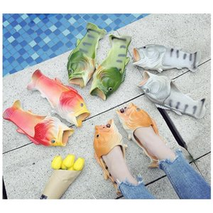 Creative Fish Shower Slippers Funny Beach Shoes Sandals Bling Flops Summer Fish Shaped Casu jllcfu warmslove
