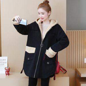 Nuevo otoño invierno mujer abrigo más tamaño moda vestidos causal suelto slim thick thick thick coat de algodón para las mujeres ropa exterior más grande
